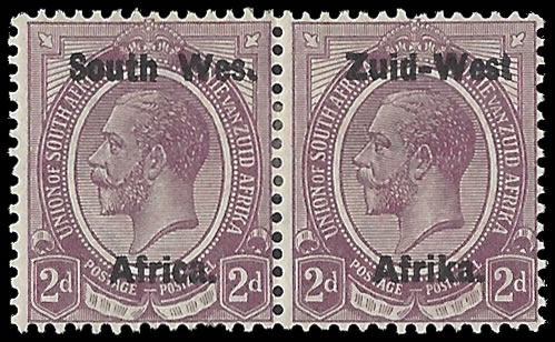 "South West Africa 1923 KGV 2d ""Wes."" For ""West"" F/M"