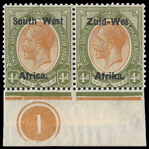 "South West Africa 1923 KGV 4d ""Wes."" For ""West"" in Control Pair"