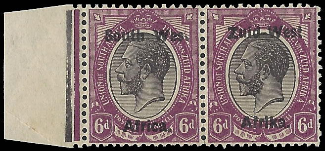 "South West Africa 1923 KGV 6d ""Wes."" For ""West"" F/M"