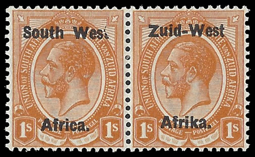 "South West Africa 1923 KGV 1/- ""Wes."" For ""West"" VF/M"