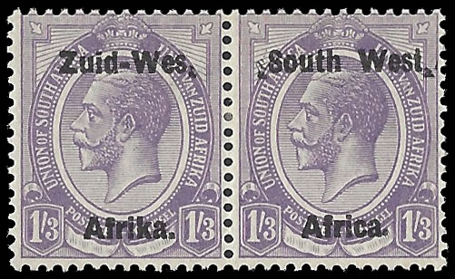 "South West Africa 1923 KGV 1/3 ""Wes."" For ""West"" VF/M"