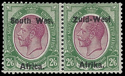 "South West Africa 1923 KGV 2/6 ""Wes."" For ""West"" VF/M"