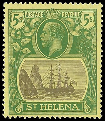 SAINT HELENA 1927 BADGE ISSUE 5/- CLEFT ROCK VF/M