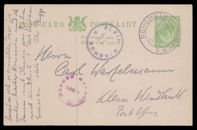SOUTH WEST AFRICA 1919 SA KGV ½D CARD, KLEIN WINDHUK POST