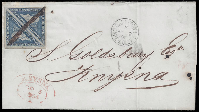 CAPE OF GOOD HOPE 1864 DLR FRANKING, MANUSCRIPT CANCEL, RARE