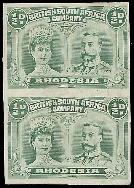 Rhodesia 1910 ½d Imperforate Pair, Double Head Showpiece