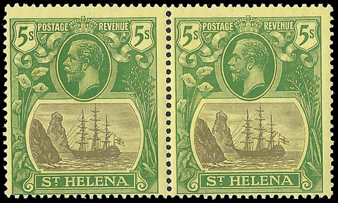 SAINT HELENA 1927 BADGE ISSUE 5/- BROKEN MAINMAST IN PAIR