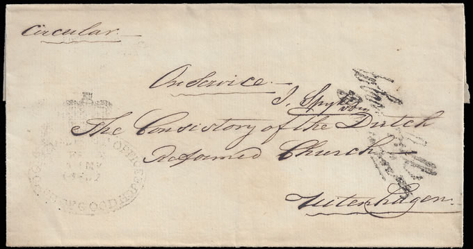 CAPE OF GOOD HOPE 1837 THIRD OFFICIAL FREE HANDSTAMP, RARE