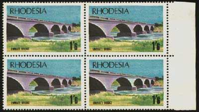 Rhodesia 1969 1/6 Bridge, White Arch Variety VF/UM Block