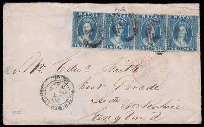 Natal 1866 QV Chalon 3d Strip of Four 1/- Letter to UK