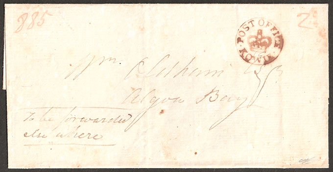 CAPE OF GOOD HOPE 1824 KOWIE CROWN-IN-CIRCLE WRAPPER, SCARCE