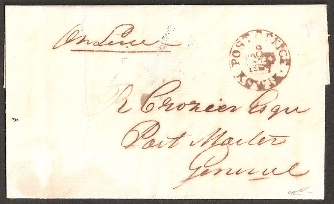 CAPE OF GOOD HOPE 1824 KOWIE CROWN-IN-CIRCLE, SCARCE