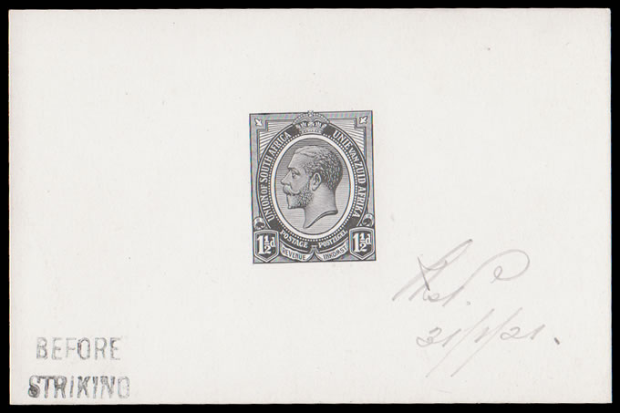SOUTH AFRICA 1920 KGV 1½D DIE PROOF BEFORE STRIKING, 1921