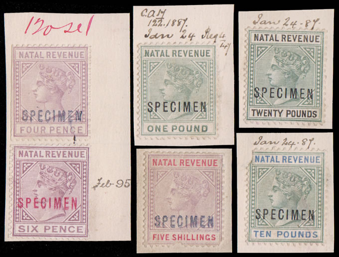 NATAL REVENUES 1886 QV 4D - £20 DE LA RUE FILE SPECIMENS
