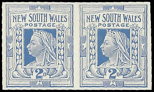NEW SOUTH WALES 1899 QV 2D COBALT BLUE IMPERF PAIR