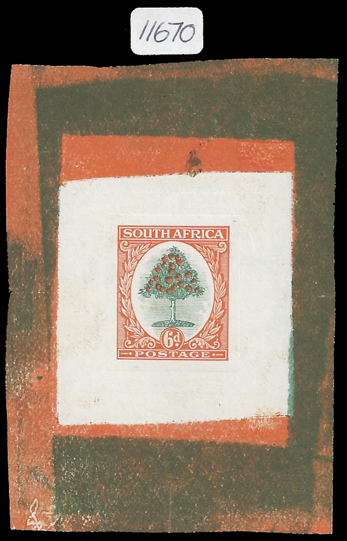 SOUTH AFRICA 1926 6D WATERLOW COLOUR DIE PROOF, MAGNIFICENT