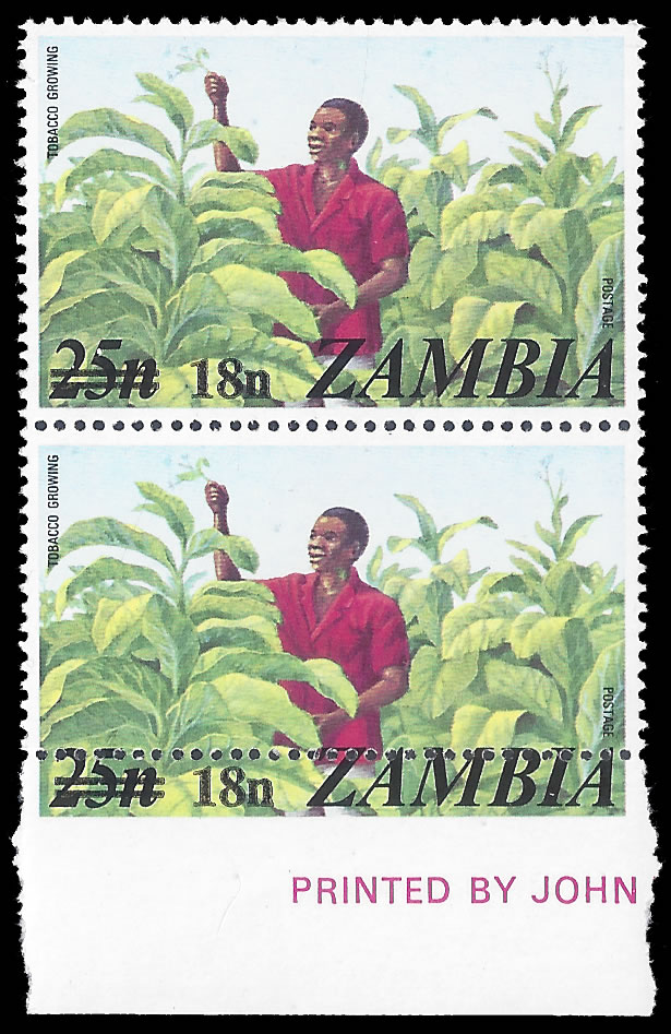 ZAMBIA 1979 TOBACCO 18N GROSSLY MISPERFORATED PAIR