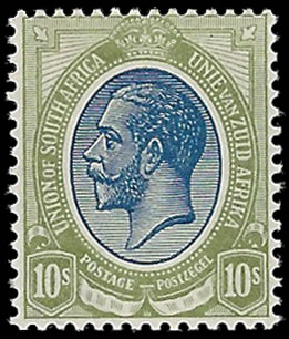 SOUTH AFRICA 1913 KGV 10/- BLUE & OLIVE-GREEN VF/M