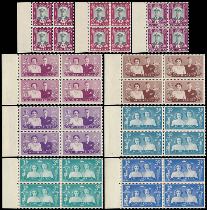 SOUTH AFRICA 1947 ROYAL VISIT 1D - 3D COLOUR TRIALS, UM BLOCKS