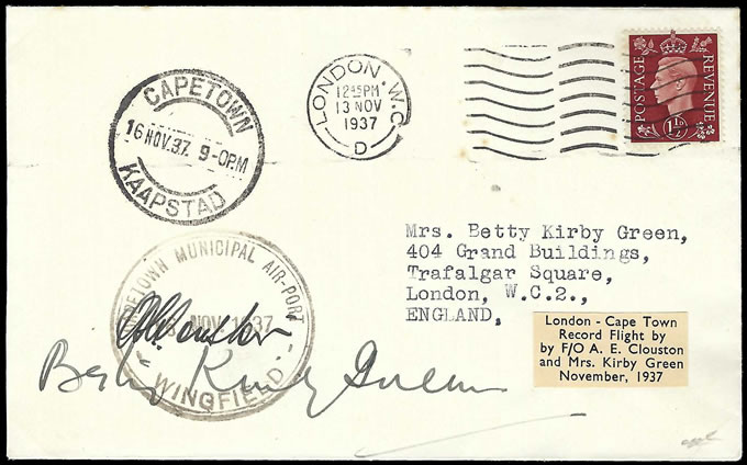 South Africa 1937 Clouston & Kirby Green London - Cape, Signed