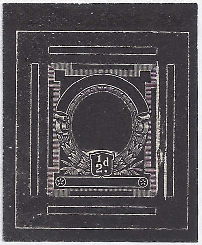 SOUTH AFRICA 1926 ½D WATERLOW DIE PROOF, FRAME PLATE