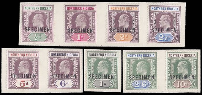 NORTHERN NIGERIA 1902 KEVII SPECIMEN SET EX NATAL ARCHIVES