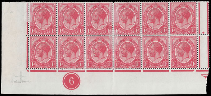 SOUTH AFRICA 1913 KGV 1D PLATE BLOCK MISSING HORN
