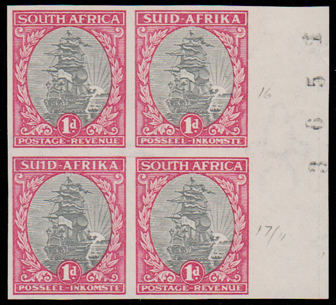 "SOUTH AFRICA 1933 1D IMPERF SHEET NO BLOCK, ""SUID"" VARIETY"
