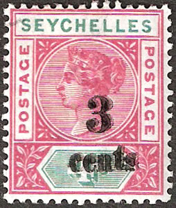 SEYCHELLES 1893 3C ON 4C SURCHARGE DOUBLE VF/M