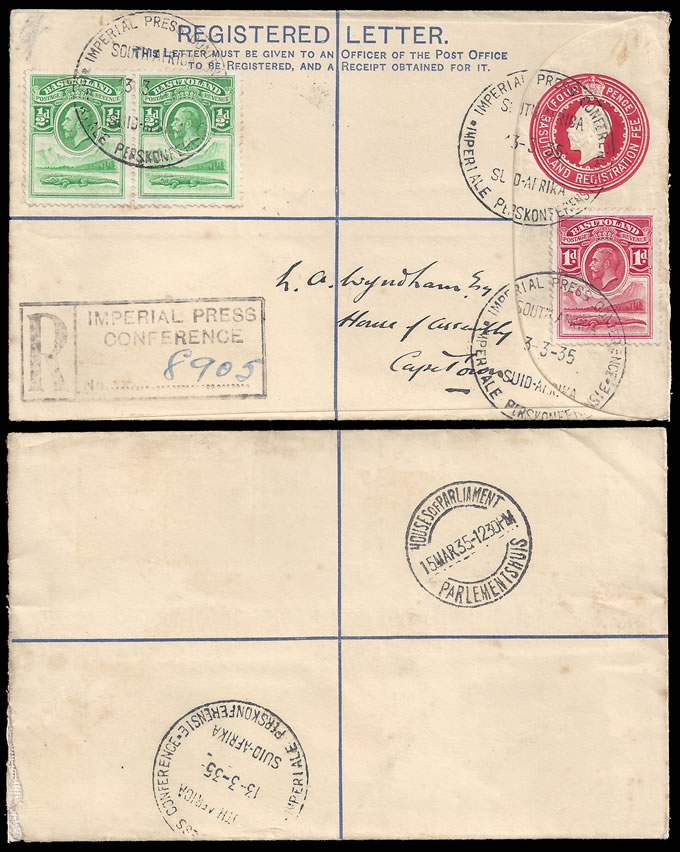 BASUTOLAND 1935 IMPERIAL PRESS CONFERENCE, RARE POSTMARK