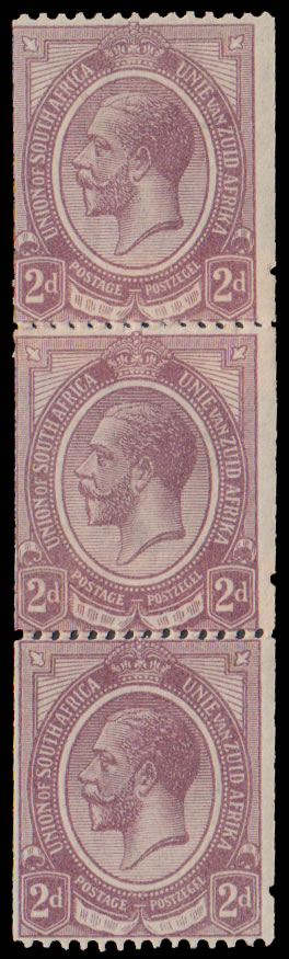 SOUTH AFRICA 1921 KGV 2D COIL JOINS, ISOLATED PERFS