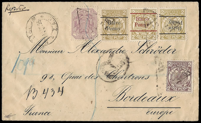 Transvaal 1895 Cover to France, Numeral Triangle, Invert etc