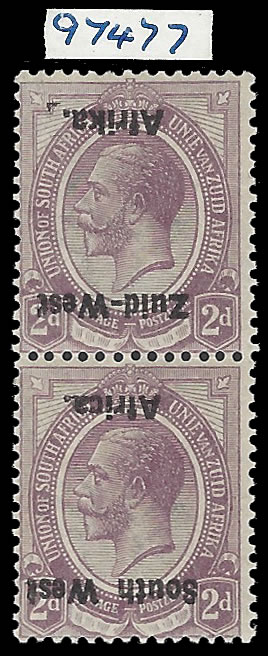 South West Africa 1923 KGV 2d Overprint Inverted, VF/M Pair