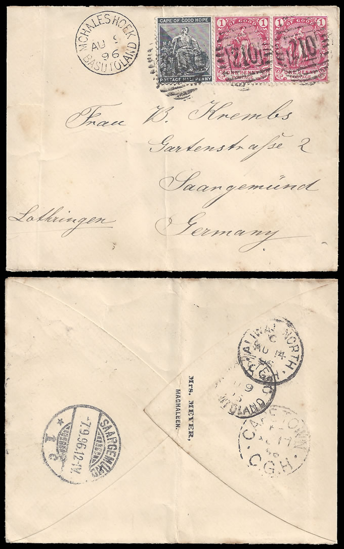 BASUTOLAND 1896 MOHALESHOEK 210 PROVING LETTER FROM MAGHALEEN