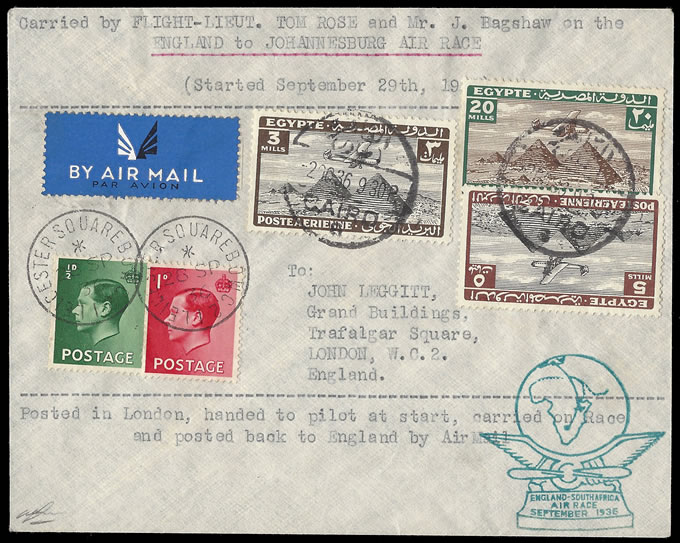 SOUTH AFRICA 1936 SCHLESINGER AIR RACE ROSE & BAGSHAW SIGNED