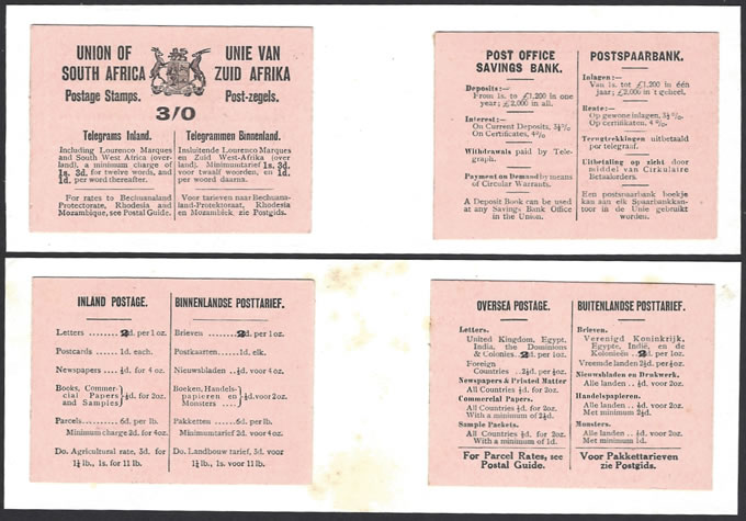SOUTH AFRICA BOOKLET 1921 KGV 3/- SALMON, DE LA RUE FILE PROOFS