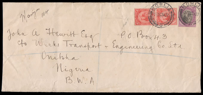 BASUTOLAND 1927 DOUBLE RATE REGISTERED TO NIGERIA VIA LONDON