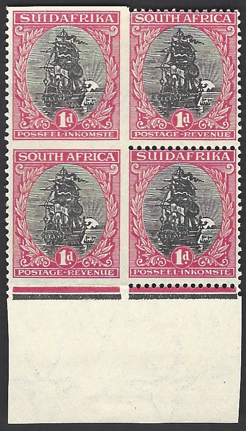 SOUTH AFRICA 1926 1D IMPERF THREE SIDES, BLOCK, RARE