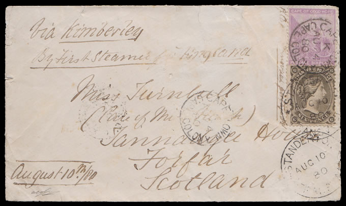 TRANSVAAL 1880 CAPE/TRANSVAAL COMBINATION LETTER