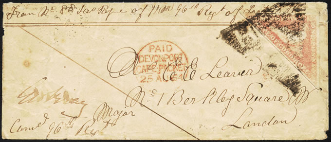 Cape of Good Hope 1864 1d Triangle Soldier's Letter