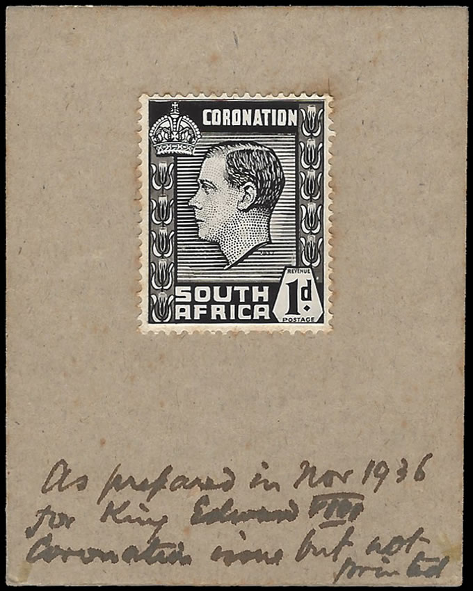 SOUTH AFRICA 1936 KEVIII PROPOSED CORONATION COMPOSITE ESSAY