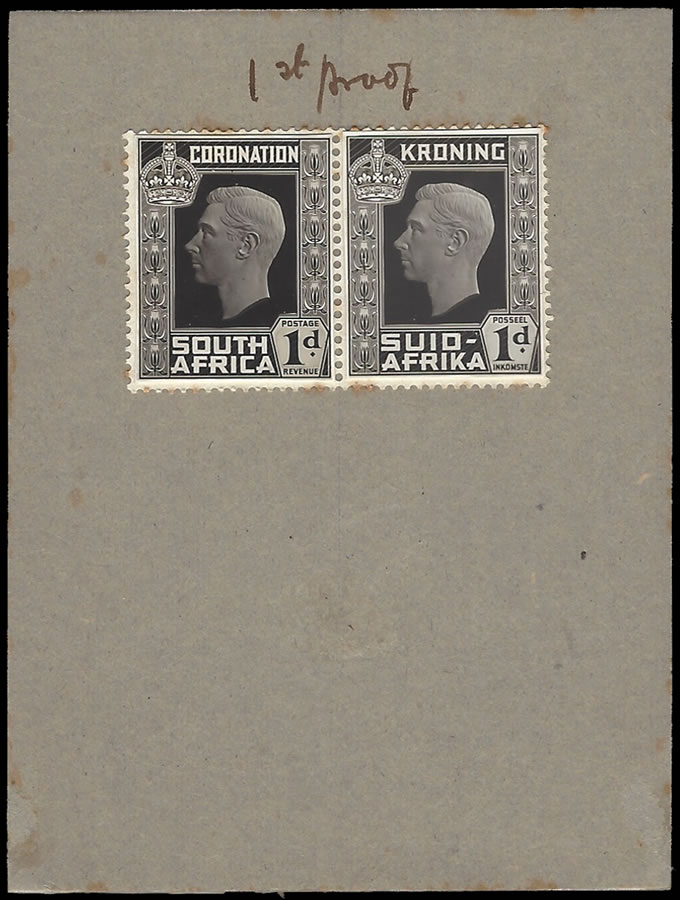 SOUTH AFRICA 1937 KGVI CORONATION PROOF LARGE HEAD MEDIUM RELIEF