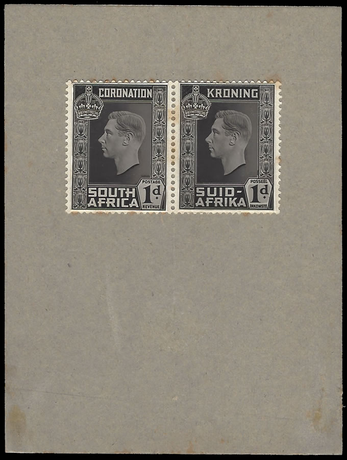 SOUTH AFRICA 1937 KGVI CORONATION PROOF SMALL HEAD, DARK RELIEF