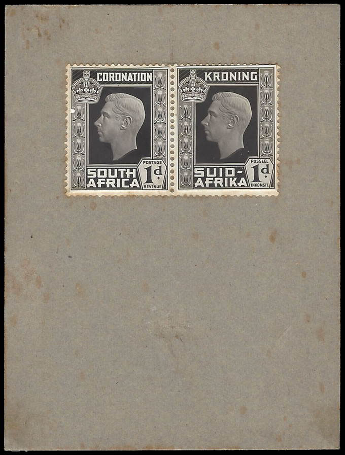 SOUTH AFRICA 1937 KGVI CORONATION PROOF LARGE HEAD, LIGHT RELIEF
