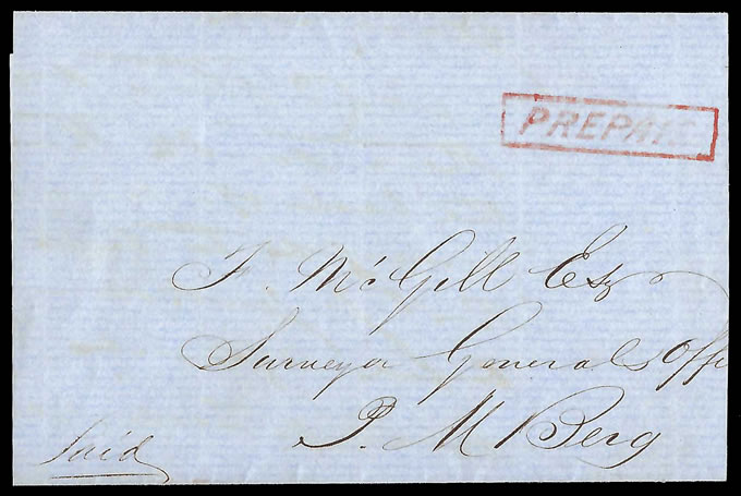 Natal 1852 PREPAID Mark of Pietermaritzburg GPO, Rarity!