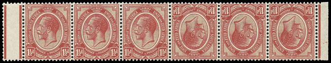 South Africa 1913 KGV 1½d Tete-Beche Pair in Strip UM