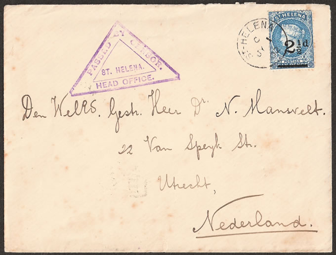 SAINT HELENA 1902 BOER WAR COVER, HEAD OFFICE CENSOR