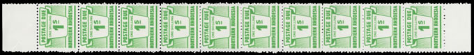 Northern Rhodesia 1963 Postage Due 1/- Double Print Strip