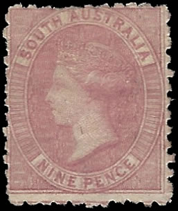 SOUTH AUSTRALIA 1880 1D VARIETY DOUBLE IMPRESSION, CERT