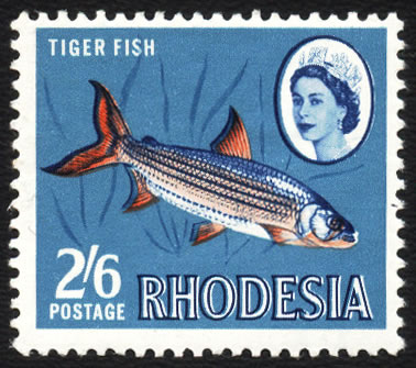 Rhodesia 1966 2/6 Tigerfish with Rhodesia Doubled VF/UM - Click Image to Close
